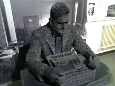Statue of Alan Turing by AA at Bletchley Park.