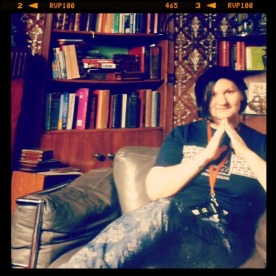 Pondering the meaning of existence in Sherlock's living room at 221B Baker Street. Or just relieved to be sitting down for a moment!