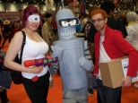 Leela, Bender and Fry (and a box of Popplers!) - Cosplay from Futurama.