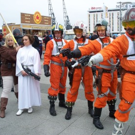 The Force is strong with these guys! Star Wars Rebel Cosplayers.
