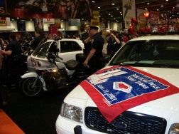 US Police cars & motorbike. Also Cops.