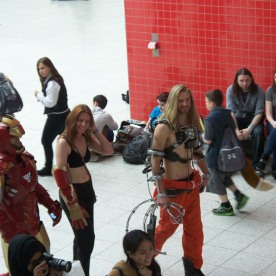 Iron Man and fellow cosplayers. Great cosplay of Mickey Rourke's character from Iron Man 2 on the right.