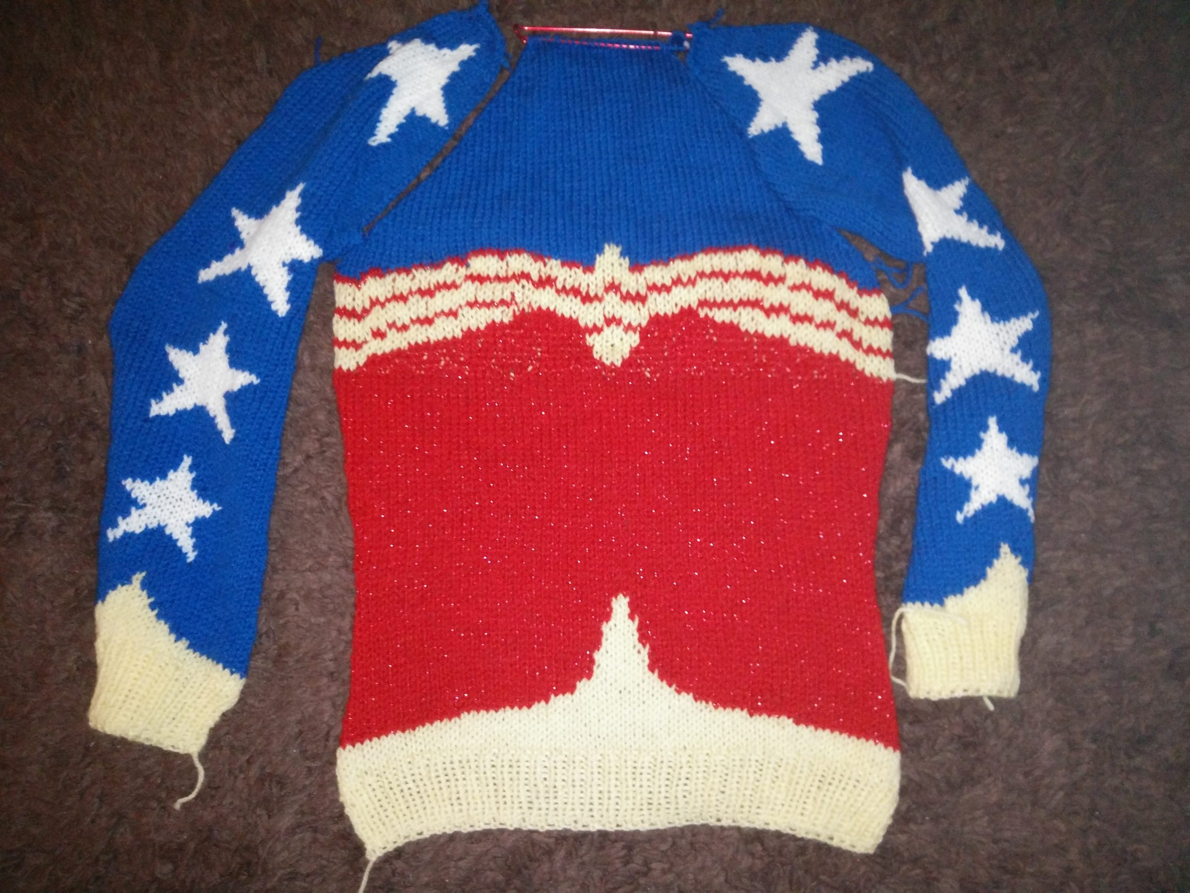 Wonder Woman Jumper Knitting Project