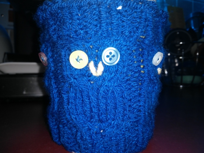 Cable Owl Coffee Cozy Project